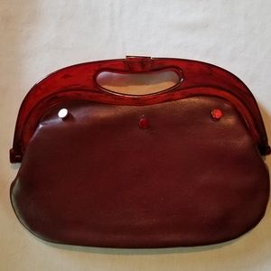 "Vintage ""leather"" bag with lucite handles"